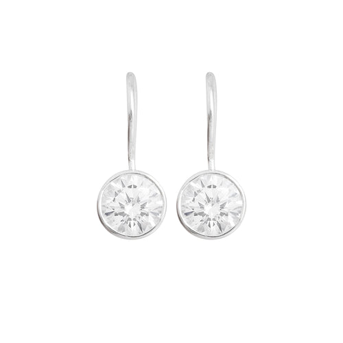 Silver Earrings with Rounded Cubic Zirconia