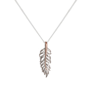 Silver Leaf with Rose Gold Plated Spine Necklace