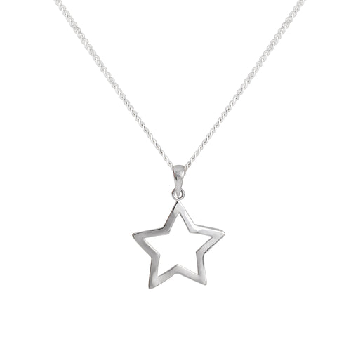 Silver Cutout Star Necklace
