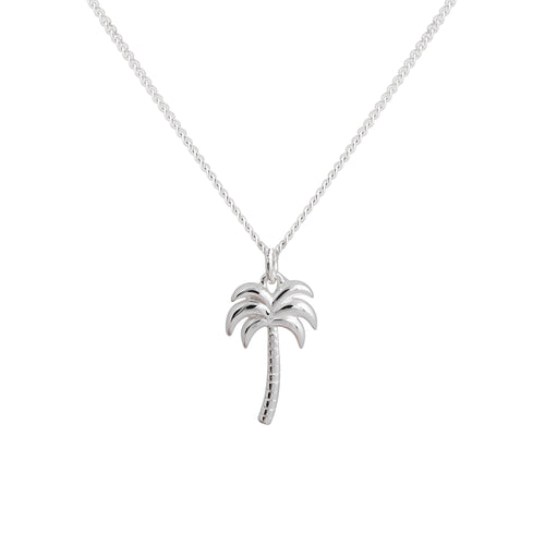 Silver Drop Palm Tree Necklace