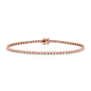9ct Rose Gold Diamond Tennis Bracelet