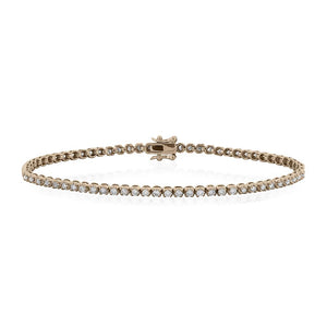 9ct Rose Gold Diamond Tennis Bracelet 1.0ct