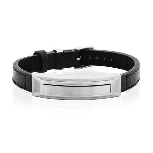 LT Man Black Leather Stainless Steel Bar Bracelet