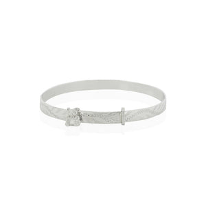 Silver Engraved Expandable Baby Bear Bangle