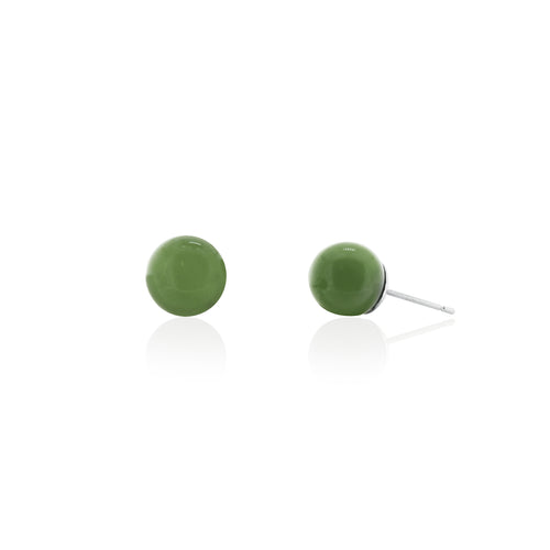 Greenstone Silver 8mm Bead Stud Earrings