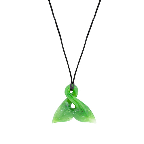 NZ Greenstone Whale Tail 40mm Pendant