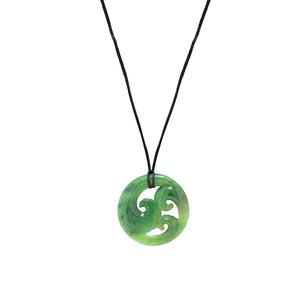 NZ Greenstone Triple Koru 40mm Pendant