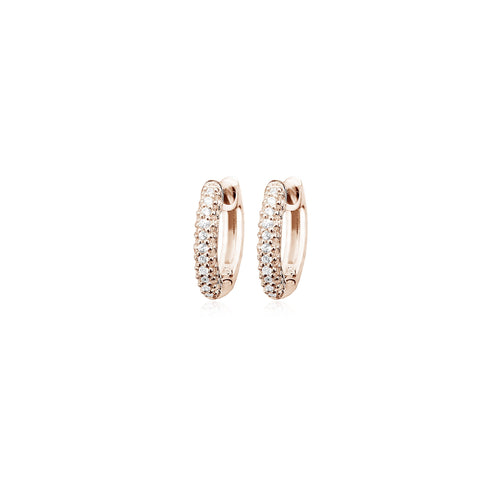 Rose Gold Plated CZ Huggie Earrings
