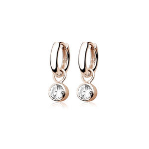 Rose Gold Plated Droplet CZ Huggie Earrings