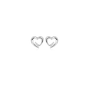 Silver Heart CZ Stud Earrings