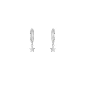 Silver Mini Star Huggie Earrings