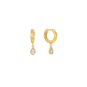 Gold Plated Lexi Huggie Earrings - Clear