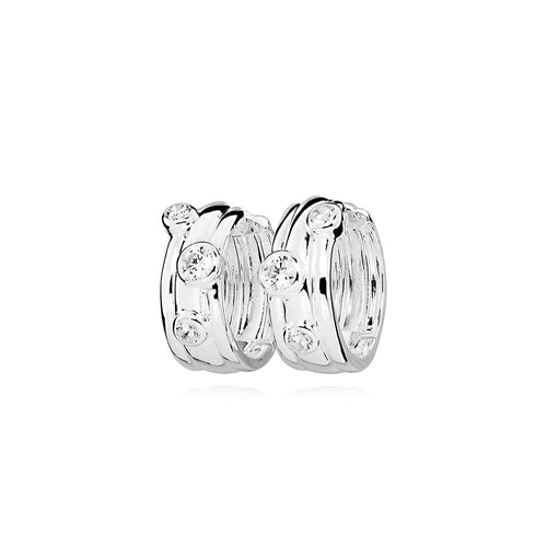 Sterling Silver Massimo Cubic Zirconia Hoop Earrings