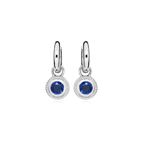 Sterling Silver Nella Cubic Zirconia Earrings - Blue