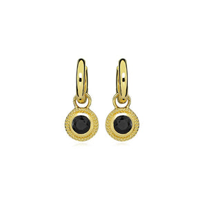 Gold Plated Nella Cubic Zirconia Earrings - Black