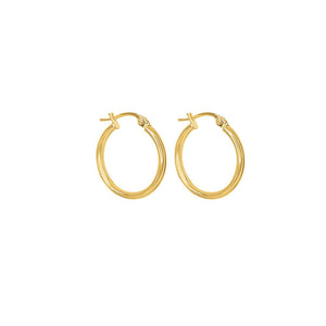 9ct Yellow Gold Plain 15mm Tube Hoop Earrings