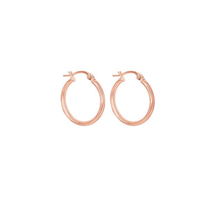 9ct Rose Gold Plain 15mm Tube Hoop Earrings