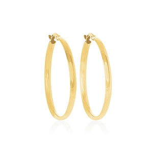 9ct Yellow Gold Plain 30mm Comfort Hoops