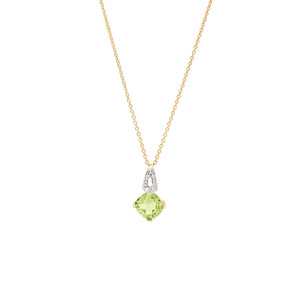 14ct Yellow Gold Peridot Diamond Pendant