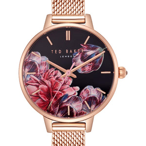 Kate Rose Floral Black Dial Rose Gold Watch