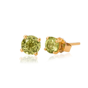 9ct Yellow Gold Peridot Stud Earring 4mm