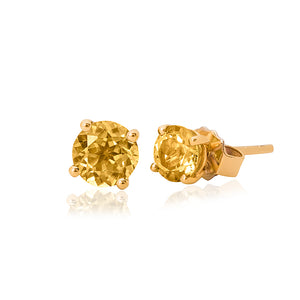 9ct Yellow Gold Citrine Stud Earring 4mm