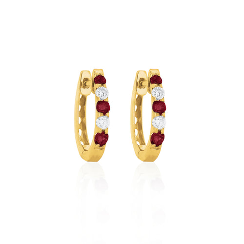 9ct Yellow Gold Ruby Diamond Hoop Earrings