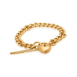 9ct Yellow Gold Curb Link Bracelet With Puff Heart