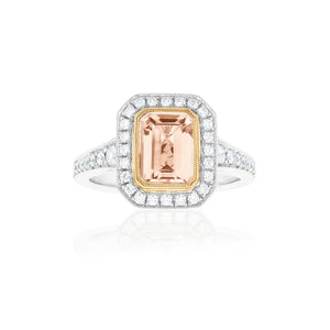 18ct White Gold Morganite Diamond Ring