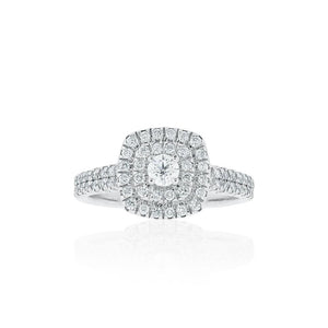 9ct White Gold Fiona Diamond Halo Ring