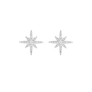 18ct White Gold Star Burst Diamond Earrings