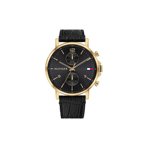 Daniel Black Black Leather Gold Plate Watch