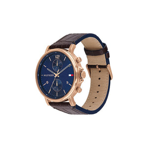 Daniel Navy Brown Leather Rose Gold Plate Watch