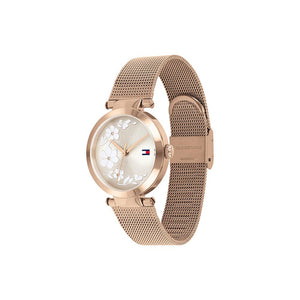 Lynn Rose Gold Plate Rose Gold Plate Stainless Steel Mesh Watch