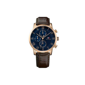 Kane Navy Brown Leather Rose Gold Plate Watch