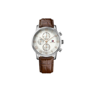 Kane Silver Brown Leather Rose Gold Plate Watch