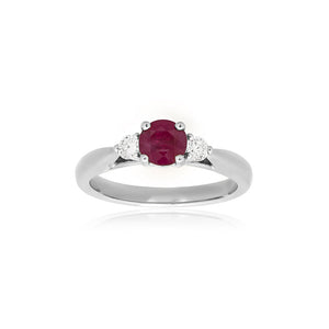 18ct White Gold Sintra Ruby Diamond Ring