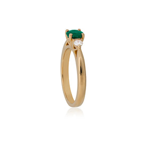 18ct Yellow Gold Sintra Emerald Diamond Ring