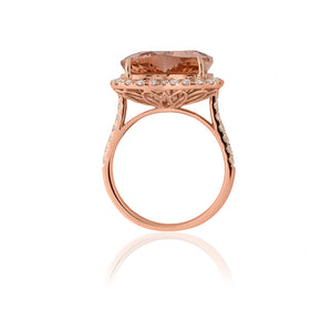 18ct Rose Gold Heart Morganite Diamond Ring