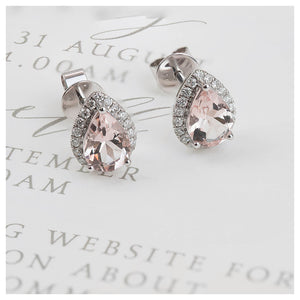 18ct White Gold Morganite Diamond Pear Earrings