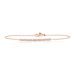 9ct Rose Gold Bea Diamond Bracelet