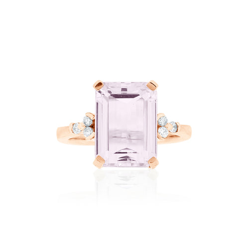 9ct Rose Gold Kunzite Diamond Ring
