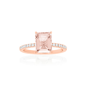 18ct Rose Gold Lavina Morganite Diamond Ring