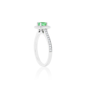 18ct White Gold Amira Emerald Diamond Ring