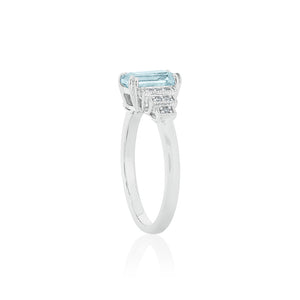 18ct White Gold Astra Aquamarine Diamond Ring