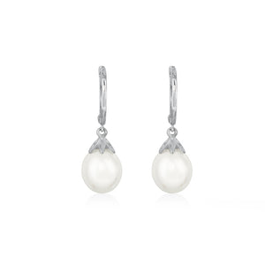 9ct White Gold Willa FWP Pearl Hoop Earrings
