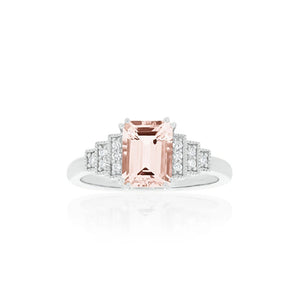 18ct White Gold Astra Morganite Diamond Ring