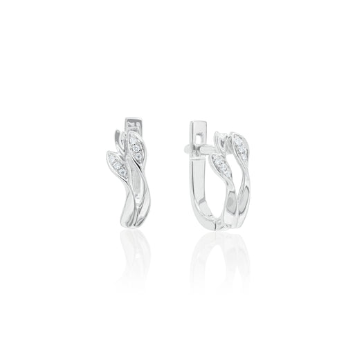 9ct White Gold Mae Diamond Hoop Earring