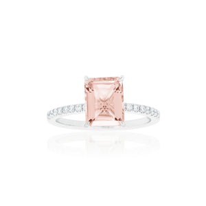 18ct White Gold Lavina Morganite Diamond Ring