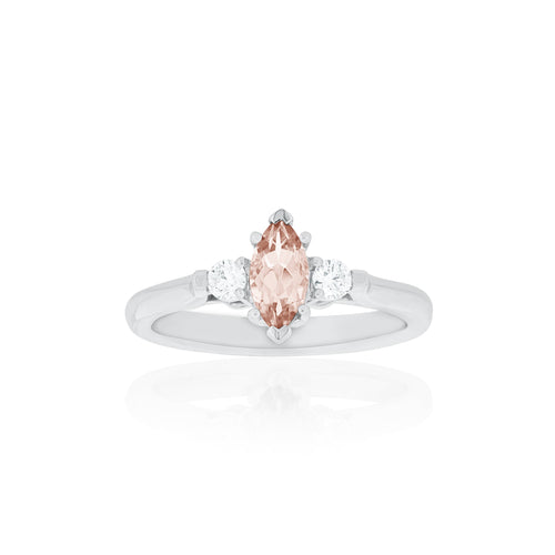 18ct White Gold Annecy Morganite Diamond Ring